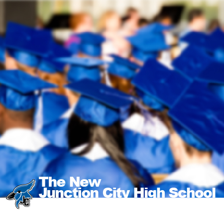 Advertisement for new JCHS. Photo of students at graduation wearing blue caps and gowns.